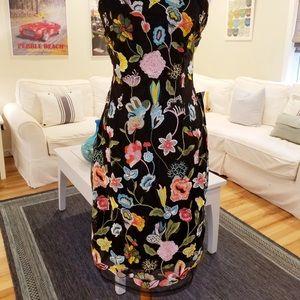 Venus Multi Colored Embroidered Floral Dress